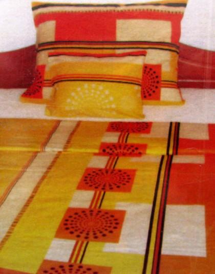 Narancssárga-sárga kockás flanel ágyneműgarnitúra (140x200)