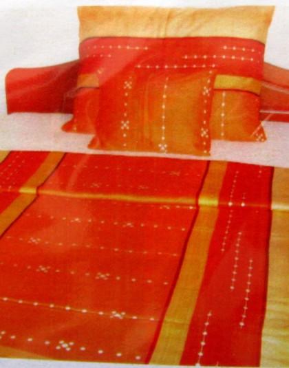 Narancssárga mintázatú pamutszatén ágyneműgarnitúra (140×200)
