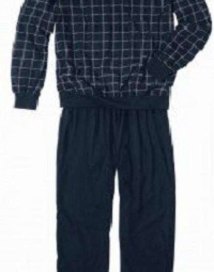 Kockás mintázatú hosszú férfi pizsama extra méret (Götzburg)