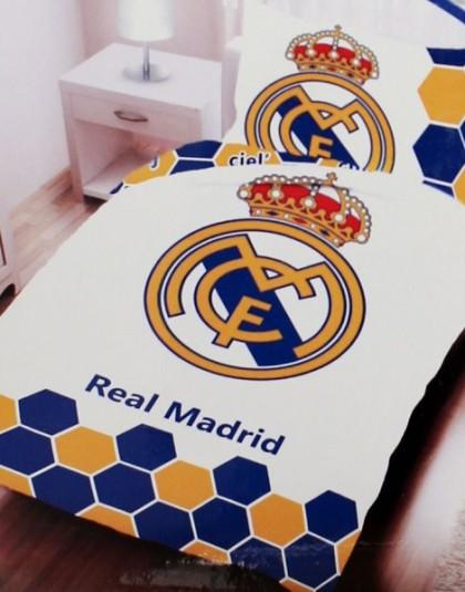 2 részes Real Madrid ágyneműgarnitúra (Hatszögmintás) (140×200 cm)