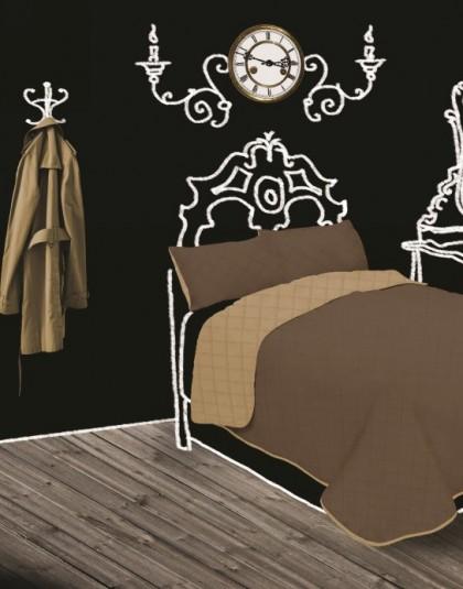 GINA steppelt, kockás kétoldalas ágytakaró (210*240)