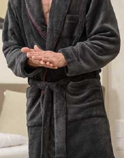 Belmanetti wellsoft kapucnis férfi köntös díszszegéllyel