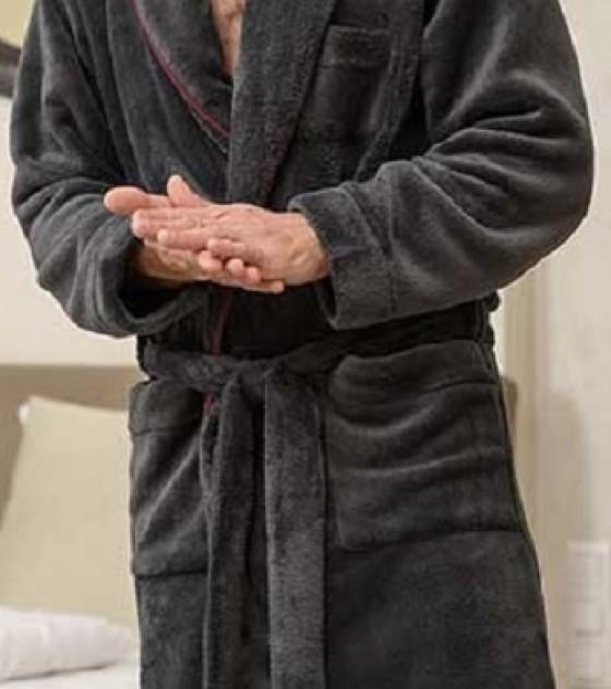 Belmanetti wellsoft kapucnis férfi köntös díszszegéllyel (W-222)