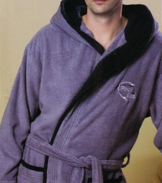 Belmanetti pamut frottír anyagú, kapucnis férfi köntös (Style: 4343)
