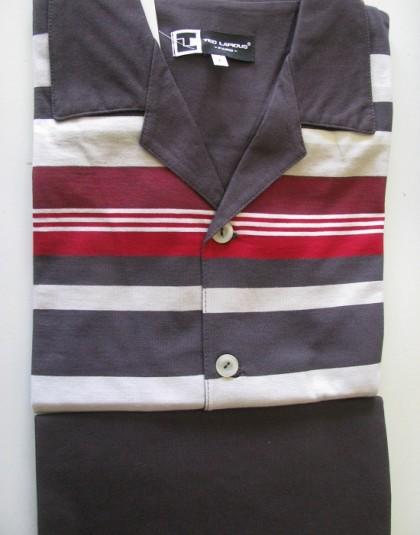 Csíkos mintázatú, galléros hosszú férfi pizsama (TL)
