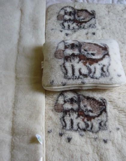 3 részes merinó bárány gyapjú anyagú gyermek ágyneműgarnitúra