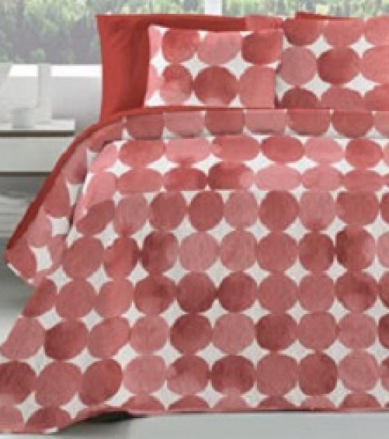 ENORA ROJO kétszemélyes, kétoldalas ágytakaró, 2 db díszpárnahuzattal (235*270)
