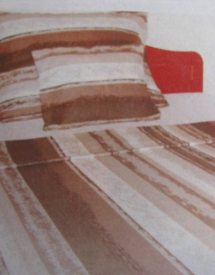 Flanel ágyneműgarnitúra (Barna csíkok) (140×205 cm)