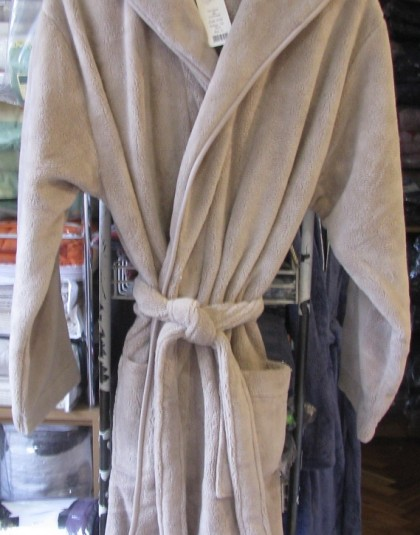 Egyszínű, wellsoft kapucnis férfi köntös (drapp), W-226)