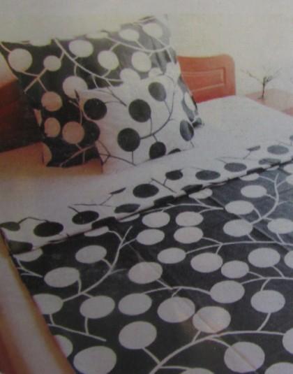 5 részes cipzáros pamut-szatén ágyneműgarnitúra (Fekete-fehér világ) (205×225 cm)
