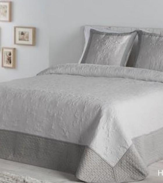HILARIA GRIS kétszemélyes ágytakaró, 2 db díszpárnahuzattal (235*270)