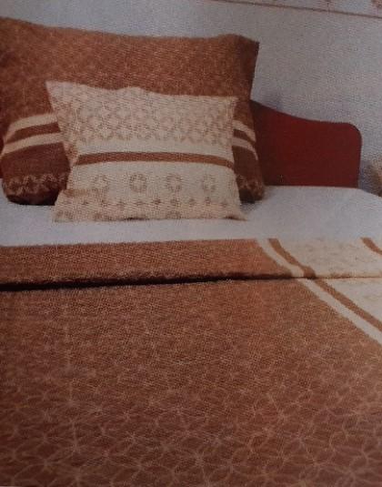 3 részes krepp ágyneműgarnitúra (Bézs-barna minta) (140×205 cm)