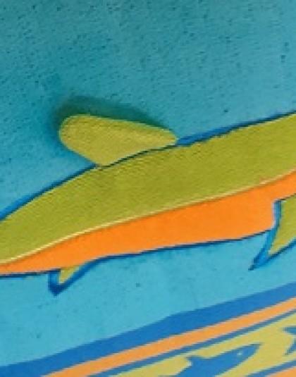 Nagyméretű pamut strandtörölköző (Cápák) (86*160 cm)