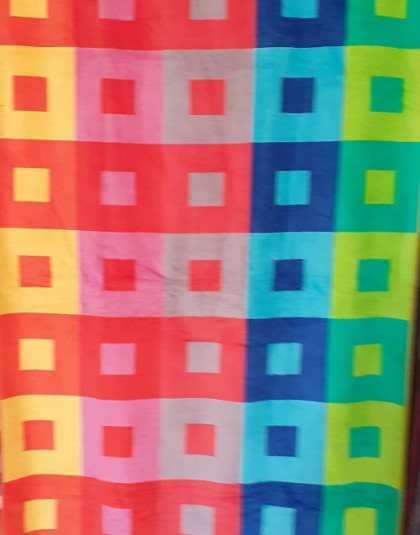 Nagyméretű pamut strandtörölköző (Színes_négyzetek) (86*160 cm)