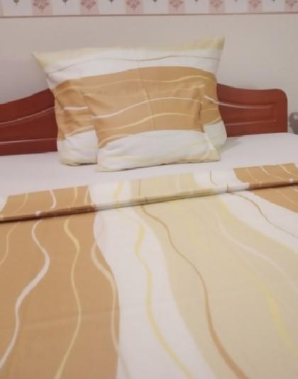 5 részes pamut-szatén DUPLA ágyneműgarnitúra  (Barna-fehér hullámok) (205*225 cm)