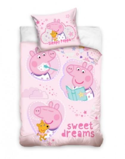 2 részes pamut gyermek ágyneműgarnitúra (Peppa malac - rózsaszín - Sweet dreams) (140×200 cm)
