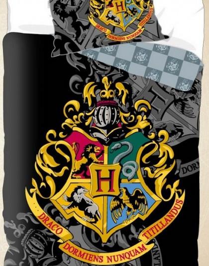 2 részes pamut gyermek ágyneműgarnitúra (Harry Potter - Hogwarts címer - fekete) (140×200 cm)