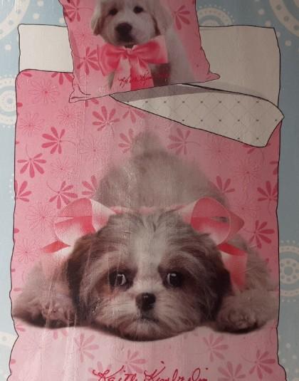 2 részes pamut gyermek ágyneműgarnitúra (Kutyák - rózsaszín) (140×200 cm)