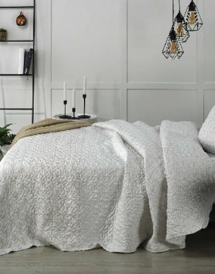 Kétszemélyes steppelt ágytakaró 2 db díszpárnahuzattal (szín: bézs [BEIG]) (235*270)