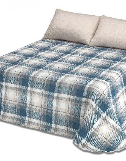 Kétszemélyes steppelt ágytakaró 2 db díszpárnahuzattal (szín: kék [AZUL]) (235*270)