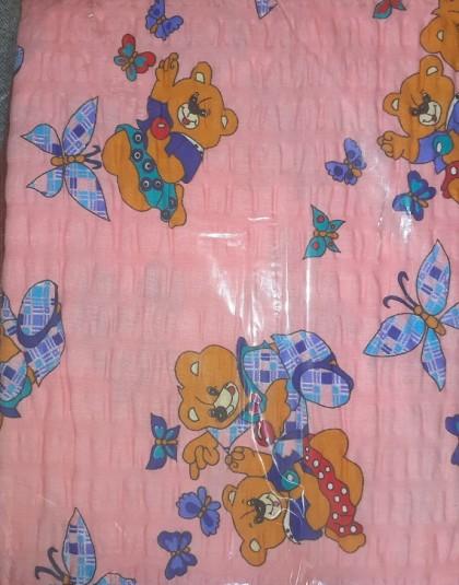 2 részes pamut-krepp ovis ágyneműgarnitúra (Mackók és pillangók) (90×140 cm)
